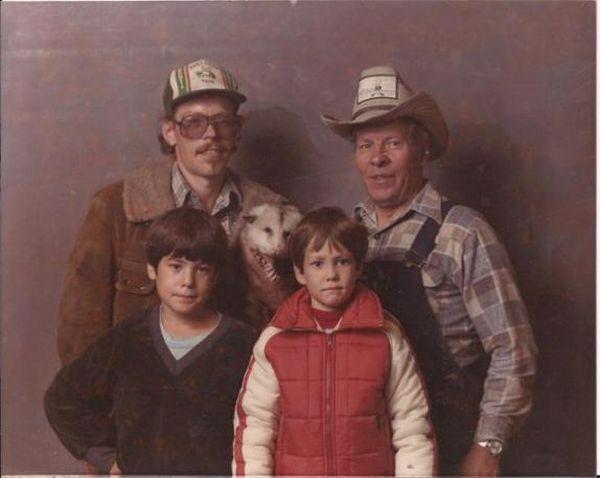 awkward family, bad, horrible family portrait. picture possum