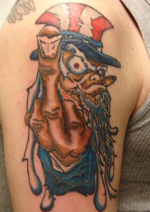 Uncle Sam Giving Finger Redneck Worst tattoos Bad Tattoos WTF Regrettable Tattoo Fails Stupid Horrible