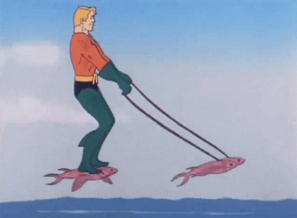 32 Examples of Funny Cartoon Logic ~ Aquaman riding flying fish